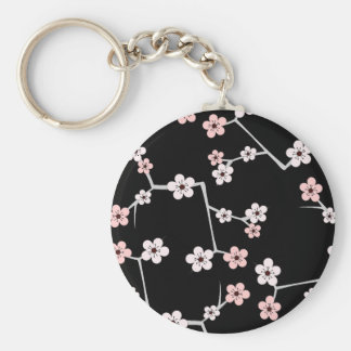 Black and Pale Pink Cherry Blossom Print Key Ring