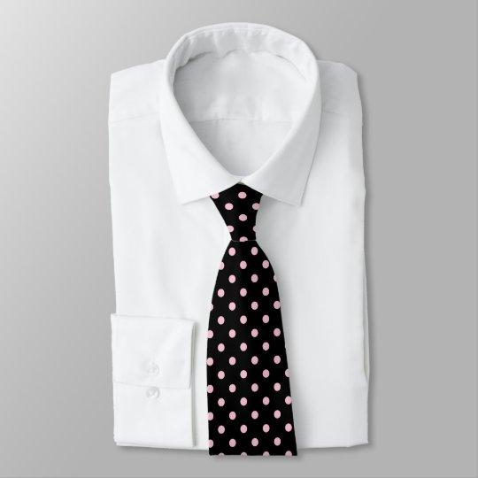 Black And Pastel Pink Polka Dot Neck Tie