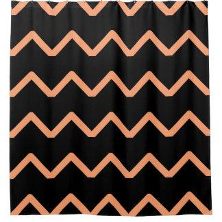 Black and Peach Chevrons Shower Curtain