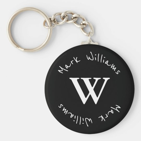 black and personalised key ring