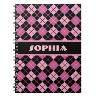 Black and Pink Argyle Notebooks