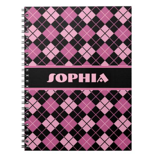 Black and Pink Argyle Notebooks