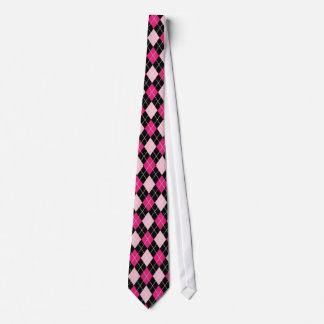 Black and pink argyle Tie