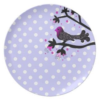 Black and Pink Bird on lilac polka dot plate