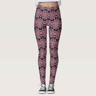 Black and Pink blooming Lace Leggings