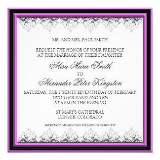 Black and Pink Border Wedding invitation