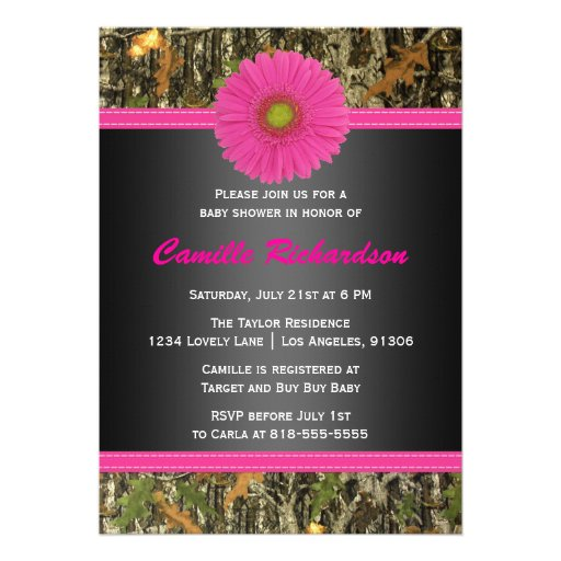 Black and Pink, Camo, Girl Baby Shower Invitation