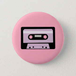 Black and Pink Cassette 6 Cm Round Badge