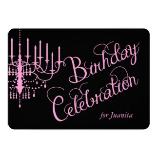 Black and Pink Chandelier Elegant Birthday Invite