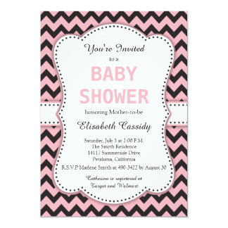Black and Pink Chevron, Baby Shower Card