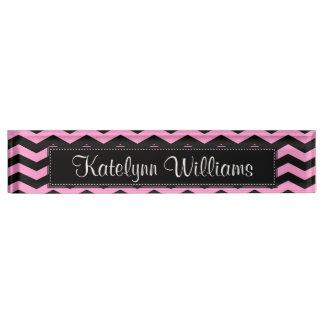 Black and Pink Chevron Monogram Desk Name Plate