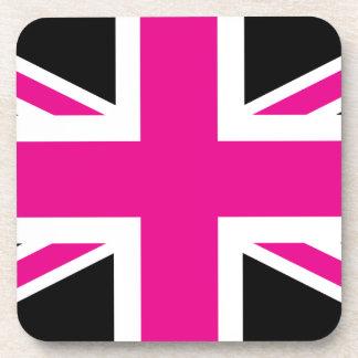 Black and Pink Classic Union Jack British(UK) Flag Coaster