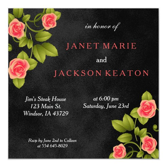 Black and Pink Coral Rose Flower Wedding Card