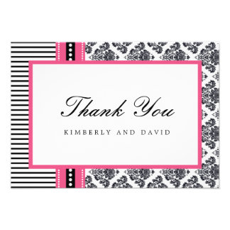 Black and Pink Damask and Stripes Thank You Card