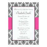 Black and Pink Damask Bridal Shower Invitation 13 Cm X 18 Cm Invitation Card