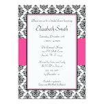 Black and Pink Damask Bridal Shower Invitation