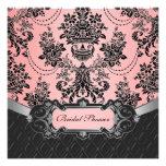 Black and Pink Damask Bridal Shower Invitations