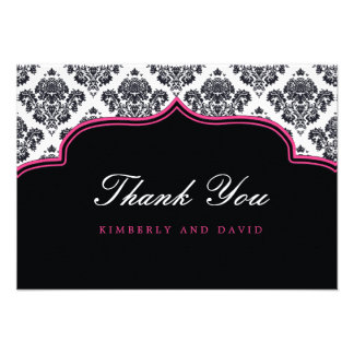 Black and Pink Damask Label Thank You Card