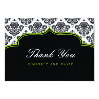 Black and Pink Damask Label Thank You Card Custom Announcements