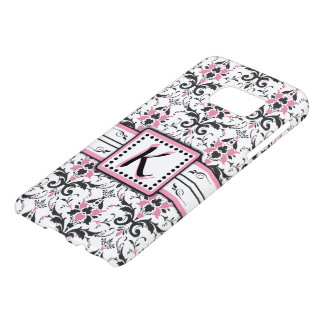 Black and Pink Damask Monogram