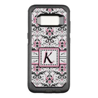 Black and Pink Damask Monogram OtterBox Commuter Samsung Galaxy S8 Case