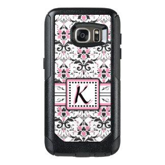 Black and Pink Damask Monogram OtterBox Samsung Galaxy S7 Case