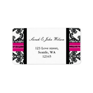 Black and Pink Damask Wedding Address Label