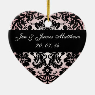 Black and Pink Damask Wedding Favour Ornament
