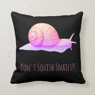 Black and Pink Don't Squish Snails Cushion