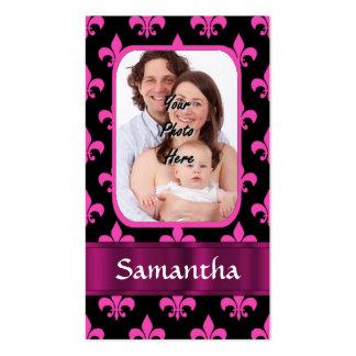 Black and pink fleur de lis pack of standard business cards