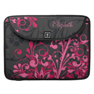 Black and Pink Floral Rickshaw Laptop Sleeve