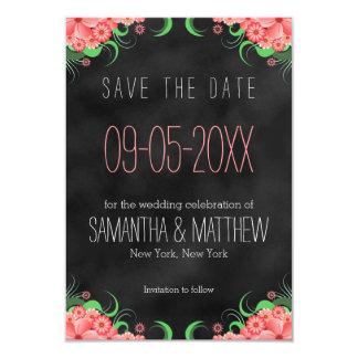 Black and Pink Floral Save The Date Announcement