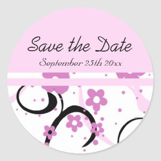 Black and Pink Floral Save the Date Envelope Seals Round Sticker