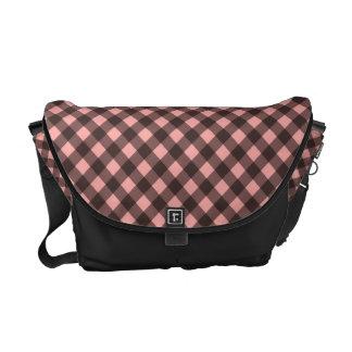 Black and Pink Gingham Messenger Bag