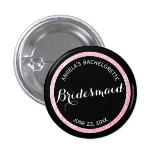 Black and Pink Glitter Bridesmaid Bachelorette 3 Cm Round Badge