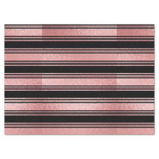 Black And Pink Gold Striped Tissue Paper