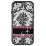 Black and Pink Grunge Damask Pattern Monogram Tough Xtreme iPhone 6 Case