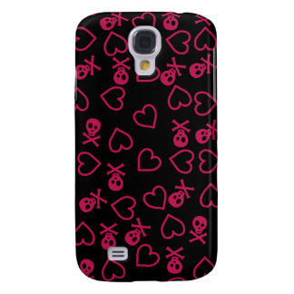 Black and pink hearts and skulls galaxy s4 case