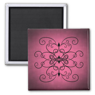 Black and pink hearts and swirls magnet