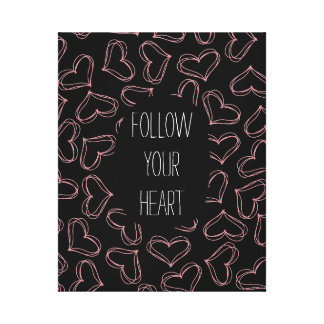 Black and Pink Hearts Canvas Prints