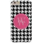 Black and Pink Houndstooth Pattern Monogram Barely There iPhone 6 Plus Case