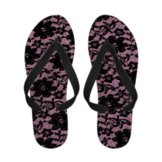Black and pink lace flip flops