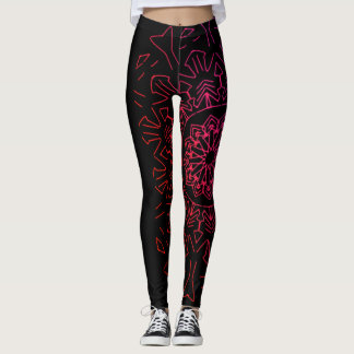 Black and Pink Mandala Leggings