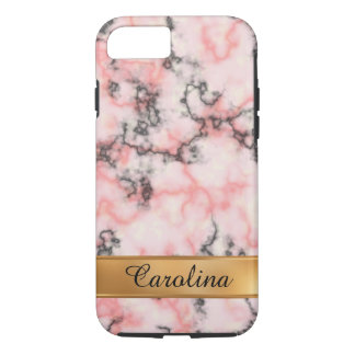 Black and Pink Marble, Gold Name iPhone 8/7 Case