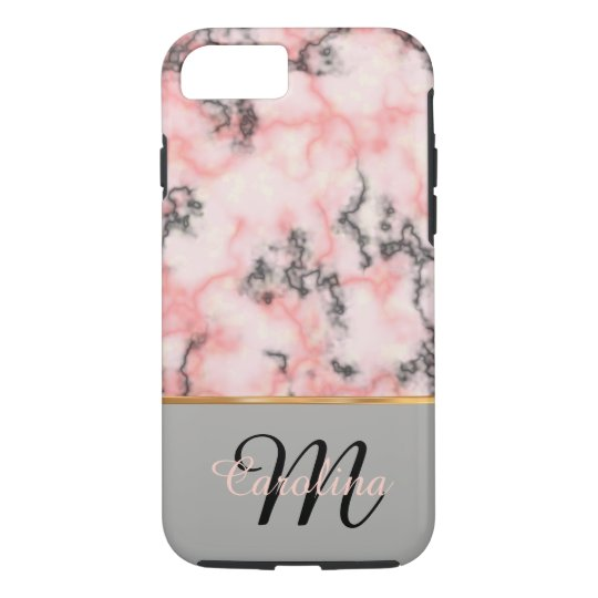 Black and Pink Marble, Name and Monogram iPhone