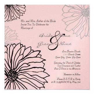 Black and Pink Mum Flowers Wedding Invitation