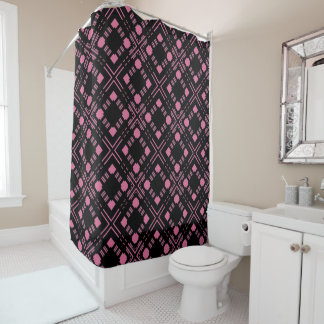 Black and pink plaid shower curtain