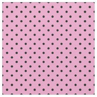 Black and Pink Polka Dot Fabric, Small Polka Dots Fabric