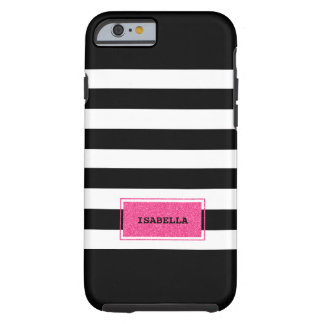 Black and Pink Preppy Stripes Monogram Tough iPhone 6 Case