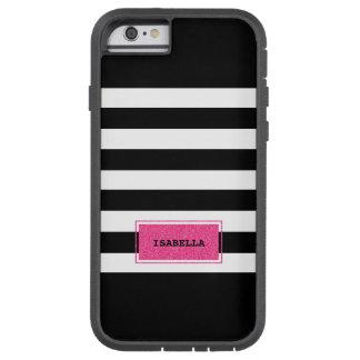 Black and Pink Preppy Stripes Monogram Tough Xtreme iPhone 6 Case